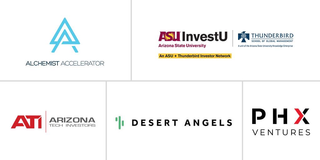 Botco.ai Investor-Logos-AZTech Investors, Desert Angels, InvestU, Alchemist Accelerator and PHX Ventures