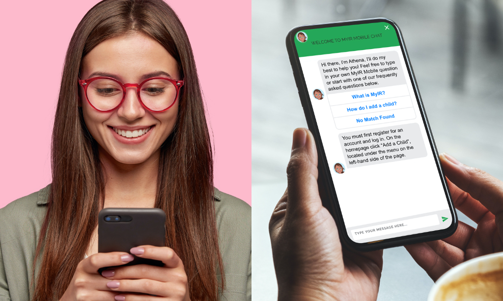 woman and mobile chatbot